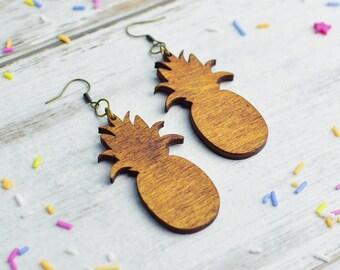 Wooden Pineapple Earrings | Nickel Free Dangle Earrings | Laser Cut Statement Jewellery | Wood Pineapple Gift