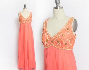 Vintage 1960s Dress - Melon Chiffon Embellished Empire Waist Gown - Medium