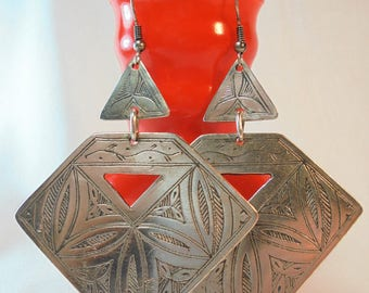 Vintage Sterling Silver Earrings Brutalist Etched 26 Grams LARGE CHUNKY Dangle Retro Boho Pierced Native Artisan