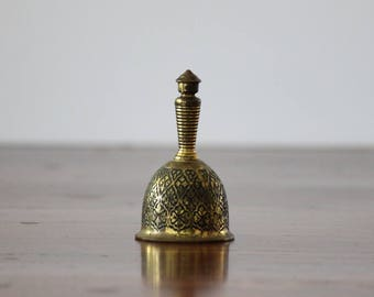 Etched Vintage Bell, Solid Brass Desk Accessory, Brass Decor Collectible, Perfect School Room Gift for Teacher