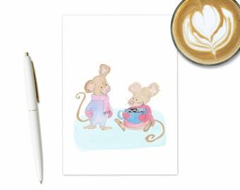 Winter Mice Card, Mouse Card, Mice Card, Cute Mouse, Cute Animals, Winter Cards, Cute Christmas Card, Winter Animals, Watercolor Animals