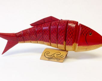 Articulated Red Wood Fish Moveable Wooden Koi Scuplture