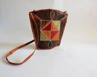 Vintage Patchwork Leather African Handbag