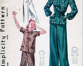 1940s Misses Pajamas , Lounging Pajamas, Long Pants, Long Or Short Sleeves, Front Button Opening, Collar Simplicity 3156 Bust 38 Uncut