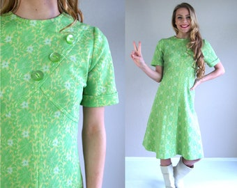 vintage 60s LIME GREEN space age Dolly DRESS mod Large floral print knit twiggy gogo bright retro stewardess scooter