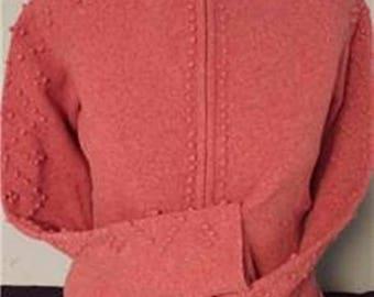 Classic Sweet Girl Lambs Wool Zip Up Cardigan In Rose Pink   #369