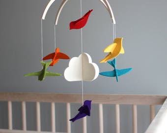 Baby Mobile - Rainbow Birds - 100% Merino Wool Felt - Rich, Lightfast Colors - Heirloom Quality - Bright Colors Modern Mobile