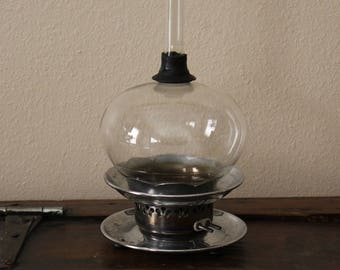 Vintage Electric Heat Coiled Diffuser, Oil Burner, Heated Burner with Bong Type Glass Top, Laboratory Beaker