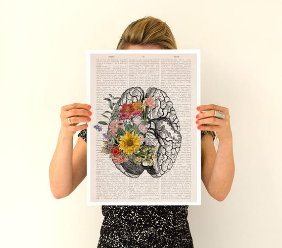 Springtime brain, Colorful flowers from Brain Poster, anatomical art, Brain art,flower art, Human poster doctor SKA140PA3