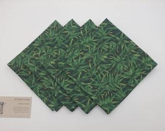 Bamboo Napkins, Green Cloth Napkins, Luncheon Napkins, Lunchbox Napkins - Set of Four