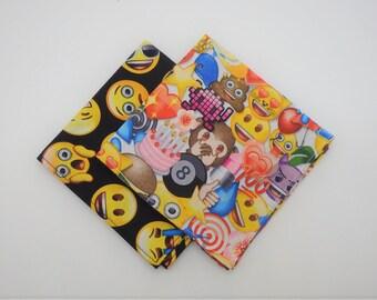 Emoji Napkins, Happy Face Lunchbox Napkins, Set of 4, Cocktail Napkins, Small Napkins, School Napkins, Small Cloth Napkins