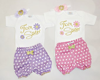 Twin Sisters Outfits Twin Girl Clothes Newborn Twins Girls Take Home Outfit Shorts Headband Twins Gift Set Twin Sisters Baby Girl Outfit