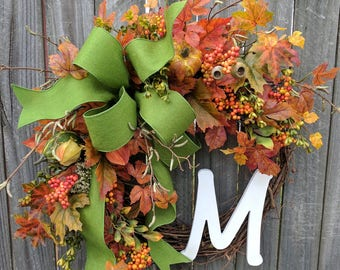 Fall Wreath, Wreath for autumn pumpkin wreath monogram wreath berry leaf wreath front door wreath bow Halloween fall door wreaths