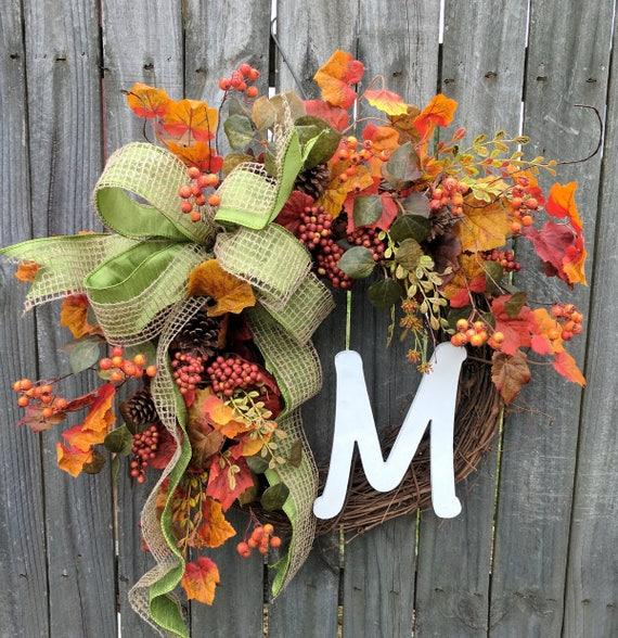 Wreaths fall wreath autumn wreath monogram wreath berry leaf wreath front door wreath burlap bow Thanksgiving fall door wreaths