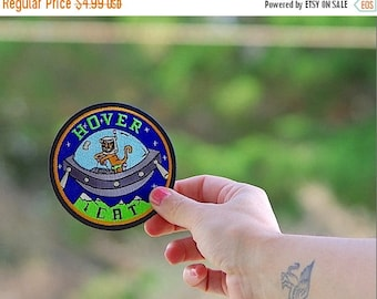 Back To School Sale Sale FREE Shipping (US only) UFO patch Hover Cat Patch Space cat astronaut embroidered iron on patches girlfriend boyfri