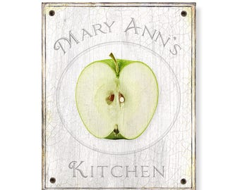Custom Kitchen Sign - Granny Smith Apple - Customizable - Rustic weathered wood sign - Country Kitchen decor - Rustic distressed home decor