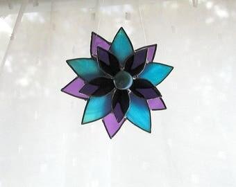 Flower Suncatcher, Stained Glass, Purple Turquoise Glass Flower,  Art & Collectibles, Glass Art, Handmade Decorative Flower, Window Decor