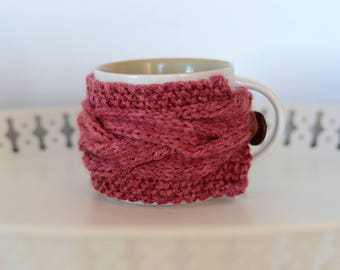 Coffee Cozy - Pink Salmon Brown- Tea Cozy - Gift Idea - Gifts Under 15 - Cabled Cup Cozy - Cosy - Gifts for Her - Gifts for Him