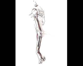 Anatomical Arm, Original watercolor drawing sketch, Human anatomy arm skeleton surrealist vivid art, NYC artist