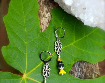 Yellow Flower Earrings yellow and black glass beaded earrings with silver flower connector dainty dangly handmade earrings