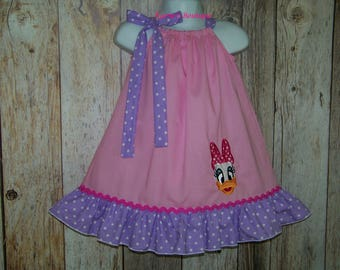Daisy Duck Pillowcase Dress / Pink + Purple Dots / Disney Vacation / Character / Infant / Baby / Girl / Toddler / Custom Boutique Clothing