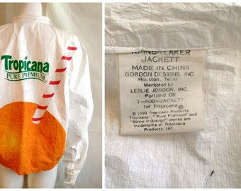 Vintage 1990s Windbreaker Mans Paper Jacket Tropicana Advertising XL