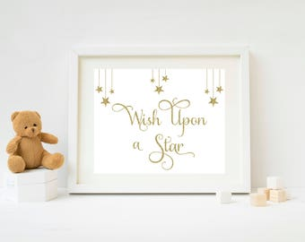 Wish Upon a Star Printable Wall Art for Nursery   Baby Shower Decor