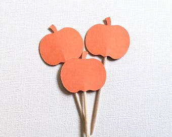 Little Pumpkin Baby Shower, 24 Mini Pumpkin Cupcake Toppers, Party Decor, Double-Sided, Autumn, Fall, Halloween, Thanksgiving