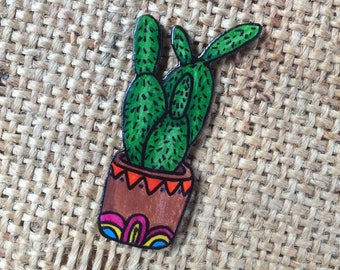 Little cactus pin badge