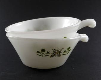 Milk Glass Bowls w/ Handle Vintage Fireking Anchor Hocking Meadow Green Soup Ice Cream Cereal Bowl Made in USA