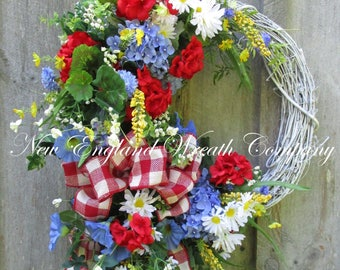 Summer Floral Wreath, Summer Cottage Wreath, 4th of July Wreath, Patriotic Wreath, Garden Wreath, Country French Wreath, Designer Wreath
