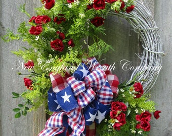 Patriotic Wreath, Summer Cottage Wreath, 4th of July Wreath, Summer Floral Wreath, Americana Garden Wreath, Patriotic Designer Wreath