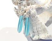 Turquoise Sea Glass Earrings, Teardrop Earrings, Beach Earrings, Sea Glass Jewelry, Beach Glass Jewelry, Modern Earrings, Gifts for Her