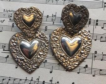 Sterling Silver Repousse Heart Dangle Earrings