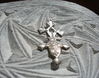 SIlver Niger Tuareg long small fine hand engraved pendant