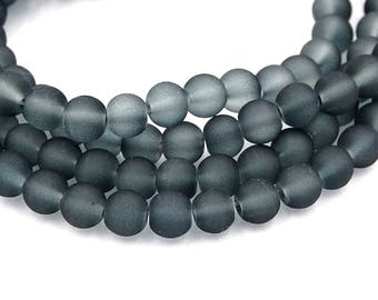 6mm Storm Gray Frosted Matte Glass Round Druk Beads - 140 beads
