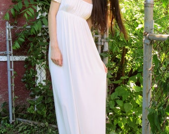 SUMMER SALE! bellissima - bamboo ivory bohemian chic hippie off shoulder wedding festival maxi dress small