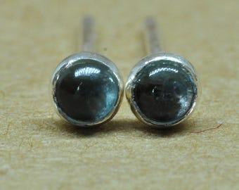 London Blue Topaz and Sterling Silver Earrings 3mm