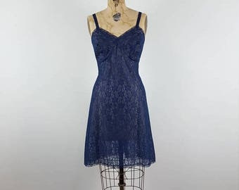 CLEARANCE SALE blue monday | vtg 1960s lace slip dress | vintage 60s party dress | small/medium | s/m