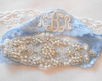 Wedding Garter Stretch Lace 3 Colors Blue Silver Yellow Bridal Garter Set MONOGRAM OPTION Pearl Crystal Cluster Vintage Inspired Lace