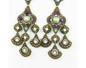 Beaded Earrings Brick Stitch Earrings Beadwoven Statement Earrings Green Purple and Chrysolite Opal Earrings Gift for her Christmas Gift