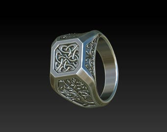 Wedding ring signet wedding ring celtic ring mens ring tree of life  RS3