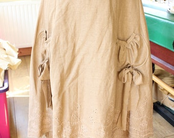 Light Brown Steampunk Peasant Gypsy Boho Linen hi-lo Linen Skirt Pockets Embroidered
