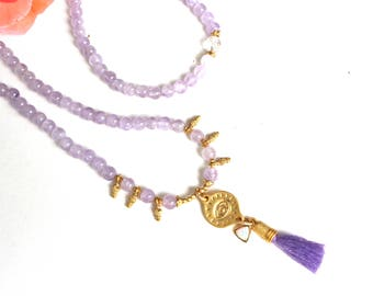 Lavender Amethyst THIRD EYE OPAL long layering necklace