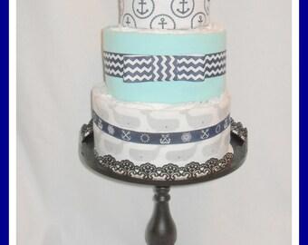 Baby Boy Diaper Cake-Beautiful Nautical Themed -Gorgeous Centerpiece