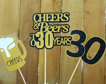Cheers and Beers Birthday Centerpieces, Beer Cake Topper, 21st Birthday, 30th Birthday, 40th Birthday, Your Choice Age