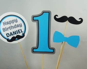 Mustache & Bow Tie Cake Toppers, Bowtie Centerpieces, 1st Birthday, 2nd Birthday, 3rd Birthday, Little Man Party Decoration, Your Choice Age