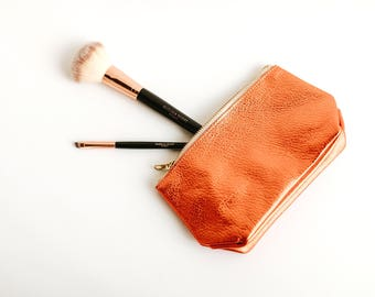 EMILY Leather Cosmetic Bag. Leather Makeup Bag. Small Leather Pouch. Small Leather Clutch. Small Leather Bag.