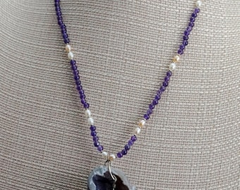 Geode with Amethyst and Freshwater Pearl
