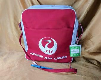 Vintage Japan Air Lines Flight Bag Airlines Shoulder Carry On JAL Tote bonus PEN and original paper luggage TAG *ebP